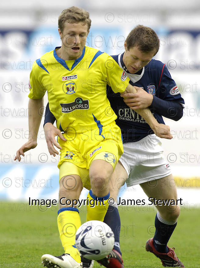 20/10/2007       Copyright Pic: James Stewart.File Name : sct_jspa10_falkirk_v_kilmarnock.GARY WALES HOLDS OFF DARREN BARR....James Stewart Photo Agency 19 Carronlea Drive, Falkirk. FK2 8DN      Vat Reg No. 607 6932 25.Office     : +44 (0)1324 570906     .Mobile   : +44 (0)7721 416997.Fax         : +44 (0)1324 570906.E-mail  :  jim@jspa.co.uk.If you require further information then contact Jim Stewart on any of the numbers above........
