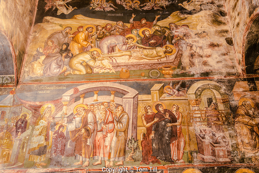Frescoes on church walls, Holy Mother of God Peribleptos Church, Ohrid, Macedonia, Built in 1295,  Soem of the finest examples of Byzantine frescoes in the world