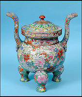 BNPS.co.uk (01202 558833)<br /> Pic: Charterhouse/BNPS<br /> <br /> ***Please use full byline***<br /> <br /> How much does a chinese urn?....&pound;153,000 over its estimate.<br /> <br /> A broken Chinese urn that had been stored on top of a wardrobe and covered in dust for 20 years has sold at auction for &pound;155,000 - &pound;153,000 over its estimate.<br /> <br /> The owner, a man aged in his 50s, had inherited the urn from a relative decades ago and thought it was nothing more than a pot pourri holder.<br /> <br /> As the dust was wiped away a beautiful hand-painted design was revealed showing ornate flowers in pink, green, blue, and red.<br /> <br /> It was suspected that the piece dated back to the 1800s when China was under the rule of the Quianlong Emporer, and it was estimated to sell for &pound;2,000 at auction.<br /> <br /> The lot caused a frenzy of bidding with buyers from around the world placing bids over the phone, by internet, and in the sale room, and it finally sold for &pound;154,250.<br /> <br /> The unnamed owner, from Shaftesbury in Dorset, said that it was the 'best day of his life' after the ancient artefact sold for 75 times what he was expecting.<br /> <br /> It was sold by Charterhouse Auctioneers in Sherborne.