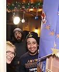 Judges: Cate Blanchett, Lin-Manuel Miranda, and Josh Groban during the cast of 'Hamilton' 2016 Door Decorating Competition at Richard Rodgers Theatre on December 23, 2016 in New York City.