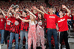 "March 3, 2010: Wisconsin Badgers fans sing ""Varsity"" during a Big Ten Conference NCAA basketball game against the Iowa Hawkeyes at the Kohl Center on March 3, 2010 in Madison, Wisconsin. The Badgers won 67-40. (Photo by David Stluka)"
