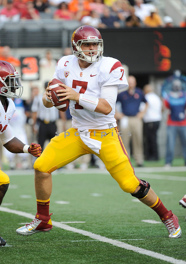 USC Trojans Matt Barkley (7) in action during a game against the Syracuse Orange on September 8, 2012 at MetLife Stadium in East Rutherford, NJ. USC beat Syracuse 42-29.