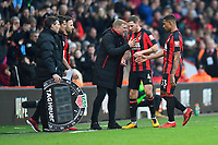 AFC Bournemouth Manager Eddie Howe issues orders to Dan Gosling of AFC Bournemouth as Jordon Ibe of AFC Bournemouth is subbed during AFC Bournemouth vs Arsenal, Premier League Football at the Vitality Stadium on 14th January 2018
