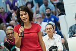 Isa Serra, spokesperson for United Podemos in the Madrid Assembly; in a meeting of Podemos with people in Madrid where they exchange points of view, listen to concerns and draw shared horizons.<br /> October 5, 2019. <br /> (ALTERPHOTOS/David Jar)
