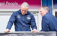 Picture by Allan McKenzie/SWpix.com - 08/04/2018 - Rugby League - Betfred Super League - Wakefield Trinity v Leeds Rhinos - The Mobile Rocket Stadium, Wakefield, England - Brian McDermott with Gary Hetherington.