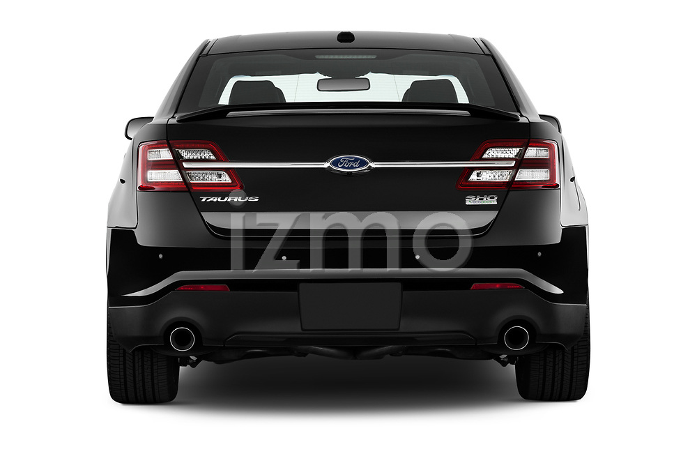 Straight rear view of 2018 Ford Taurus SHO 4 Door Sedan Rear View  stock images