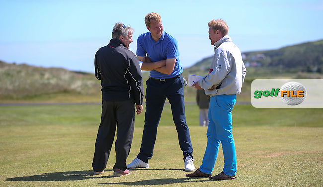 Pressmen Alistair Tait and Stuart Hood (Golf World) interviewing Sean Towndrow (Southport & Ainsdale) after his gallant victory during the Quarter Finals at The Amateur Championship 2014 from Royal Portrush Golf Club, Portrush, Northern Ireland. Picture:  David Lloyd / www.golffile.ie