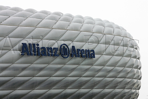 22 November 2005: View of the sign on the outside of the  Allianz Arena before the UEFA Champions League group A game between Bayern Munich and Rapid Vienna played at the Alliance Arena, Munich, Germany. Bayern Munich won the match 4-0.