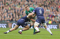 Saturday 10th March 2018 |  Ireland vs Scotland<br /> <br /> Dan Leavey is tackled by Hamish Watson and John Barclay during the NatWest 6 Nations clash between Ireland and Scotland at the Aviva Stadium, Lansdowne Road, Dublin, Ireland. Photo by John Dickson / DICKSONDIGITAL