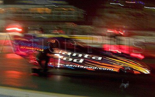 3 November 2007: Fireforce 3 Jet Car in action. Night-time drag racing Flame and Thunder Meeting at Santa pod Raceway, Northants. Photo: Leo Mason/Actionplus...car 071103 motorsport