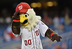 20 September 2012: Washington Nationals Mascot Screech holds his cap prior to a game against the Los Angeles Dodgers at Nationals Park in Washington, DC. The Nationals defeated the Dodgers 4-1, clinching a playoff birth: the first time for a Washington franchise since 1933. Mandatory Credit: Ed Wolfstein Photo
