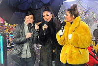 "NEW YORK - DECEMBER 31: Ken Jeong, Nicole Scherzinger, and Maria Menounos on  ""FOX'S New Years Eve with Steve Harvey: Live From Times Square"" on December 31, 2018 in New York City. (Photo by Stephen Smith/Fox/PictureGroup)"