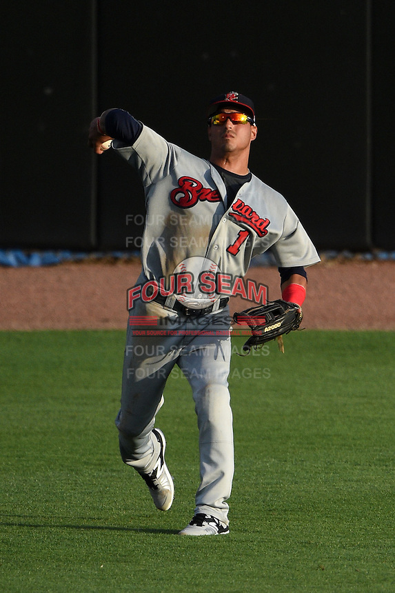 Brevard County Manatees outfielder Omar Garcia (1) throws the ball in after catching a fly ball during a game against the Dunedin Blue Jays on April 23, 2015 at Florida Auto Exchange Stadium in Dunedin, Florida.  Brevard County defeated Dunedin 10-6.  (Mike Janes/Four Seam Images)