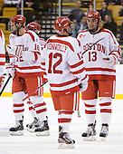 Wade Megan (BU - 18), Chris Connolly (BU - 12), Garrett Noonan (BU - 13) - The Boston University Terriers defeated the Harvard University Crimson 3-1 in the opening round of the 2012 Beanpot on Monday, February 6, 2012, at TD Garden in Boston, Massachusetts.