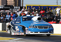 Feb. 22, 2013; Chandler, AZ, USA; NHRA pro stock driver Chris McGaha during qualifying for the Arizona Nationals at Firebird International Raceway. Mandatory Credit: Mark J. Rebilas-