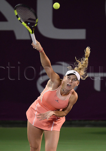 24.02.2016. Doha, Qatar.  Caroline Wozniacki of Denmark competes during the singles third round match against Elena Vesnina of Russia at the WTA Tennis Damen Qatar Open 2016 in Doha, Qatar, Feb. 24, 2016. Elena Vesnina won 2-1.