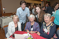 From left, Jo Ann Cross Willaims '51, Michael Spieckerman '15, Dottie Burnett '54, Savannah Gilmore '15 and Helen Paxson '52. Occidental College hosts the Scholarship Appreciation Reception, February 13, 2014 in Dumke Commons of Swan Hall.  (Photo by Marc Campos, Occidental College Photographer)