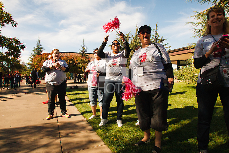 Stanford-October 10, 2014: Family and friends greet the team before the Stanford vs. Washington State game Friday night at Stanford Stadium.<br /> <br /> The Cardinal defeated the Cougars 34-17.