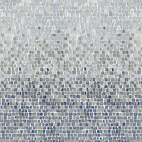 Mist, a hand-chopped stone mosaic, shown in 1.5 cm tumbled Calacata Tia, Celeste, Kay's Green, Blue Macauba.