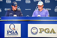 Phil Mickelson (USA) and Ernie Els (RSA) during press conference honoring 100 conbined majors during Tuesday's preview of the PGA Championship  at Quail Hollow in Charlotte, North Carolina. 8/8/2017.<br /> Picture: Golffile | Ken Murray<br /> <br /> <br /> All photo usage must carry mandatory copyright credit (&copy; Golffile | Ken Murray)