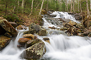Stark Falls which are located along Stark Falls Brook in Woodstock, New Hampshire during the spring months.