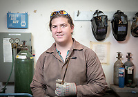Profile portrait of August Barringer '19.<br /> After a shift from engineering to art and art history, August Barringer '19 has thrived in the classroom and the metal shop, finding a close-knit community of fellow artists on the way.<br /> As a tour guide, Special Collections student worker and O-Team member, August is building up an impressive amount of Oxy knowledge. Now as she spends the summer conducting independent research in L.A., August can add another Oxy staple to her list of experiences: the Undergraduate Research Center's Summer Research Program.<br /> Photo taken June 18, 2018 at the Mullin Family Studio and Art Gallery.<br /> (Photo by Marc Campos, Occidental College Photographer)