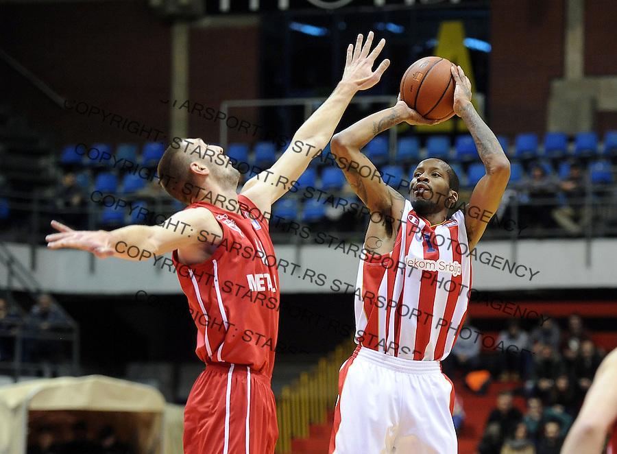 Kosarka ABA League season 2015-2016<br /> Crvena Zvezda v Metalac (Valjevo)<br /> Tarence Kinsey (R) and Djordje Majstorovic<br /> Beograd, 18.01.2016.<br /> foto: Srdjan Stevanovic/Starsportphoto&copy;
