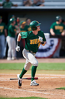 Siena Saints pinch hitter Tim Carroll (28) runs to first base during a game against the UCF Knights on February 17, 2019 at John Euliano Park in Orlando, Florida.  UCF defeated Siena 7-1.  (Mike Janes/Four Seam Images)