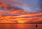A Paintbrush Sunset Sky Over Presque Isle Bay As Seen From Dobbins Landing During The Perry 200 Commemoration, September 2013, Erie Pennsylvania, USA
