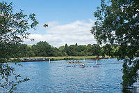 "Henley on Thames, United Kingdom, 21st June 2018, Thursday, Training day before the start of  ""Henley Women's Regatta"",  Thursday,  view, Crews Turning at the gap in the course,  Henley Reach, River Thames, England, © Peter SPURRIER/Alamy Live News"
