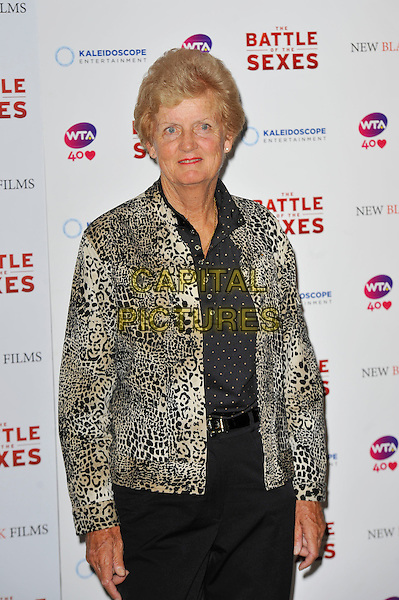 Betty Stove<br /> The gala screening of 'The Battle Of The Sexes', Vue Cinema, Leicester Square, London, England. <br /> 26th June 2013<br /> half length black white shirt leopard print  blazer shirt<br /> CAP/MAR<br /> &copy; Martin Harris/Capital Pictures