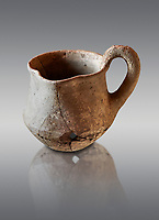 Hittite terra cotta cult side handled spouted jug. Hittite Period 1650 - 1450 BC, Ortakoy Sapinuvwa .  Çorum Archaeological Museum, Corum, Turkey