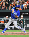 Toronto Blue Jays Kendrys Morales (8) during a game against the Baltimore Orioles on April 5, 2017 at Oriole Park at Camden Yards in Baltimore, MD. The Orioles beat the Blue Jays 3-1.