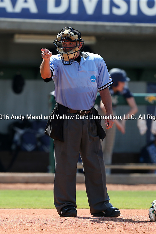 02 June 2016: Home plate umpire Darryn Fredrickson calls a strike. The Nova Southeastern University Sharks played the Cal Poly Pomona Broncos in Game 11 of the 2016 NCAA Division II College World Series  at Coleman Field at the USA Baseball National Training Complex in Cary, North Carolina. Nova Southeastern won the semifinal game 4-1 and advanced to the championship series.