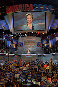 Los Angeles, CA - August 14, 2000 -- First lady Hillary Rodham Clinton, a candidate for the United States Senate from the State of New York, speaks on the opening night of the 2000 Democratic National Convention in Los Angeles, California, Monday, August 14, 2000..Credit: Dennis Brack - Pool via CNP