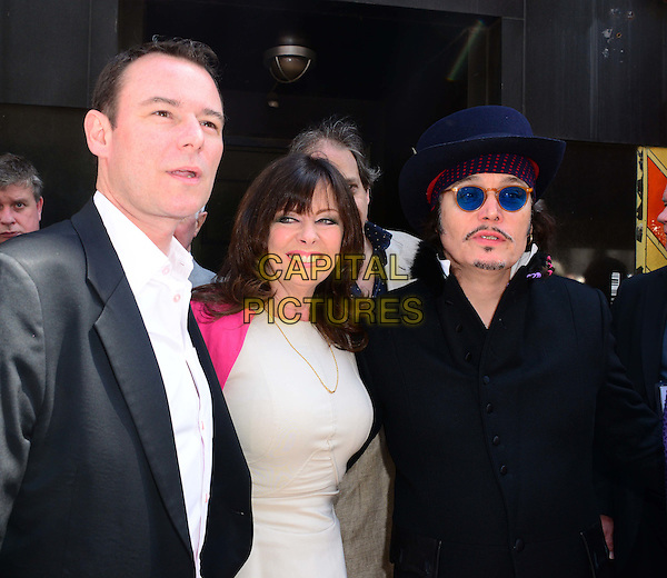 LONDON, ENGLAND - JUNE 29:  Andrew Lancel; Vicki Michelle; Adam Ant attend Brian Epstein blue plaque unveiling.  Late Beatles manager, Brian Epstein, is honoured with plaque at historic site of his company NEMS former offices, at Sutherland House, 5-6 Argyll Street, on June 29, 2014, in London, England. <br /> CAP/JOR<br /> &copy;Nils Jorgensen/Capital Pictures
