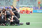The Hague, Netherlands, June 15: Players of huddle together before the field hockey placement match (Men - Place 7th/8th) between Spain and the Black Sticks of New Zealand on June 15, 2014 during the World Cup 2014 at Kyocera Stadium in The Hague, Netherlands.  Final score after full time 1-1 (0-1). The Black Sticks of New Zealand win the shoot-out 1-4.  (Photo by Dirk Markgraf / www.265-images.com) *** Local caption ***