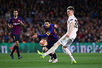 UEFA Champions League 2018/2019.<br /> Quarter-finals 2nd leg.<br /> FC Barcelona vs Manchester United: 3-0.<br /> Lionel Messi vs Scott McTominay.