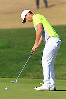 Lucas Bjerregaard (DEN) putts on the 10th green during Thursday's Round 1 of the 2016 Portugal Masters held at the Oceanico Victoria Golf Course, Vilamoura, Algarve, Portugal. 19th October 2016.<br /> Picture: Eoin Clarke   Golffile<br /> <br /> <br /> All photos usage must carry mandatory copyright credit (© Golffile   Eoin Clarke)