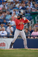 New Hampshire Fisher Cats Brock Lundquist (32) at bat during an Eastern League game against the Trenton Thunder on August 20, 2019 at Arm & Hammer Park in Trenton, New Jersey.  New Hampshire defeated Trenton 7-2.  (Mike Janes/Four Seam Images)