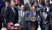 Coach Nick Saban speaks during the welcoming of the 2017 NCAA Football National Champions: The Alabama Crimson Tide to the White House in Washington, DC, March 10, 2018. <br /> CAP/MPI/RS<br /> &copy;RS/MPI/Capital Pictures