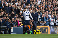 Dele Alli of Tottenham Hotspur is substituted by manager Mauricio Pochettino during the Premier League match between Tottenham Hotspur and Bournemouth at White Hart Lane, London, England on 15 April 2017. Photo by Mark  Hawkins / PRiME Media Images.