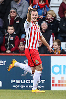 Luke Wilkinson of Stevenage celebrates scoring the opening goal against Northampton Town during the Sky Bet League 2 match between Stevenage and Northampton Town at the Lamex Stadium, Stevenage, England on 19 March 2016. Photo by David Horn / PRiME Media Images.