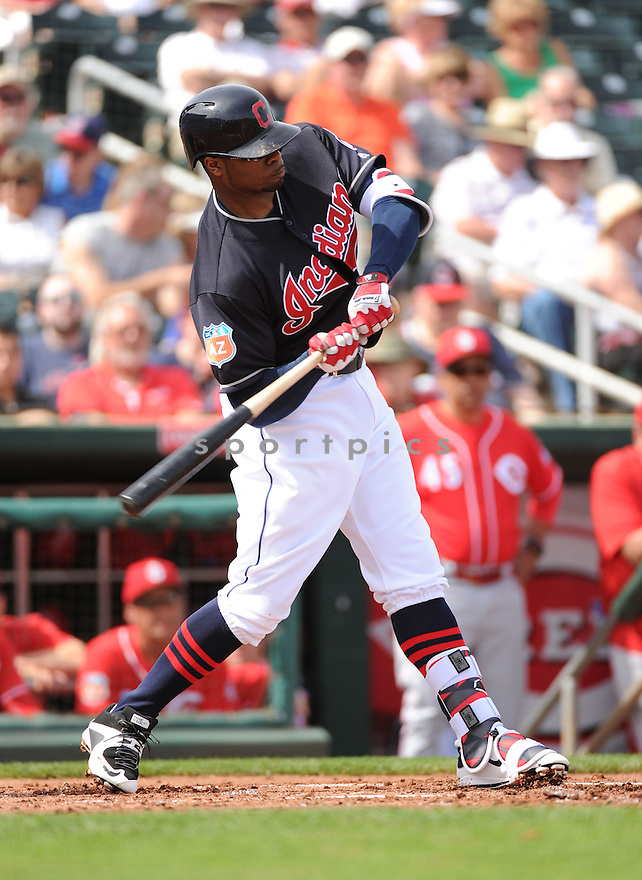 Cleveland Indians Rajai Davis (20) during a pre-season game against the Cincinnati Reds on March 1, 2016 at Goodyear Ballpark in Goodyear, AZ. The Reds beat the Indians 6-5.