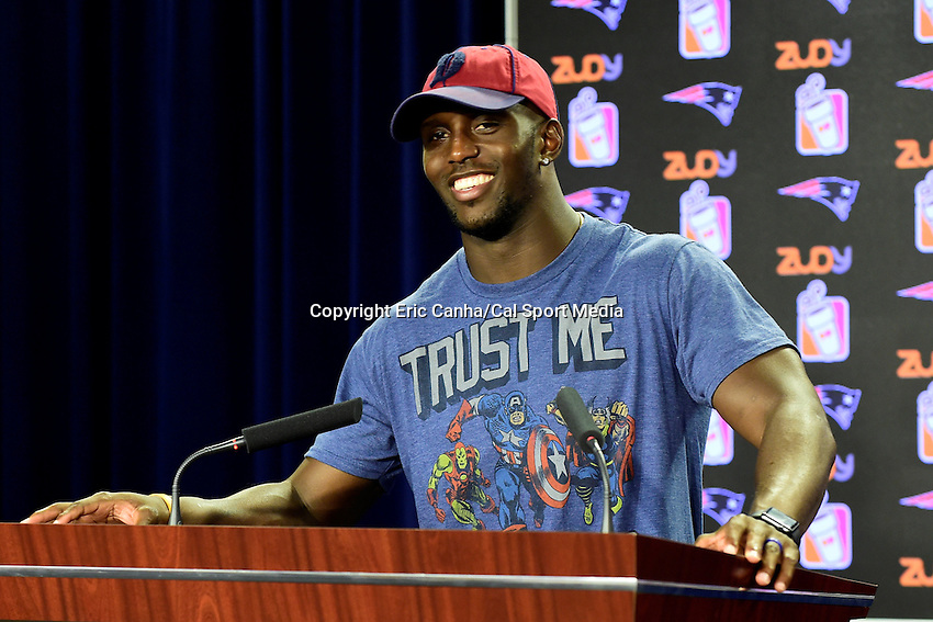 Wednesday, July 27, 2016: New England Patriots safety and defense captain Devin McCourty talks to media at a press conference at the New England Patriots training camp held Gillette Stadium in Foxborough Massachusetts. Eric Canha/CSM