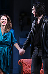 "Keri Russell and Adam Driver during the Broadway Opening Night Curtain Call for Landford Wilson's ""Burn This""  at Hudson Theatre on April 15, 2019 in New York City."