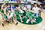 S&ouml;dert&auml;lje 2014-04-22 Basket SM-Semifinal 7 S&ouml;dert&auml;lje Kings - Uppsala Basket :  <br /> S&ouml;dert&auml;lje Kings spelare jublar efter matchen S&ouml;dert&auml;lje Kings Dino Butorac , S&ouml;dert&auml;lje Kings Mantas Griskenas , S&ouml;dert&auml;lje Kings Assane Sene <br /> (Foto: Kenta J&ouml;nsson) Nyckelord:  S&ouml;dert&auml;lje Kings SBBK Uppsala Basket SM Semifinal Semi T&auml;ljehallen jubel gl&auml;dje lycka glad happy