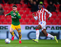12th February 2020; Bet365 Stadium, Stoke, Staffordshire, England; English Championship Football, Stoke City versus Preston North End; Bruno Martins Indi of Stoke City chases down Sean Maguire of Preston North End