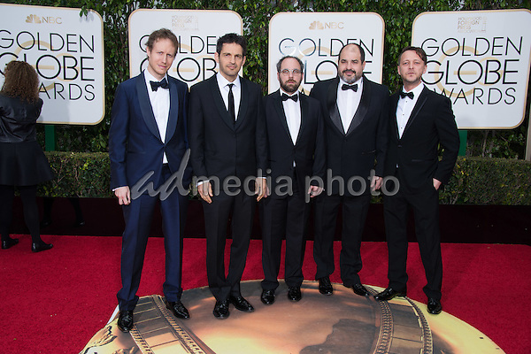 "László Nemes, Géza Röhrig, Gabor Sipos, Gabor Rajna and Levente Molnár, Golden Globe nominees in the category of BEST FOREIGN LANGUAGE FILM for ""Son of Saul"" (Hungary), arrive at the 73rd Annual Golden Globe Awards at the Beverly Hilton in Beverly Hills, CA on Sunday, January 10, 2016. Photo Credit: HFPA/AdMedia"