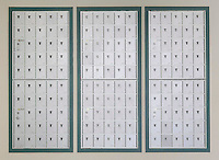 College dormitory mailbox.